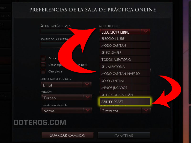 ability draft elegir modos salas privadas LAN