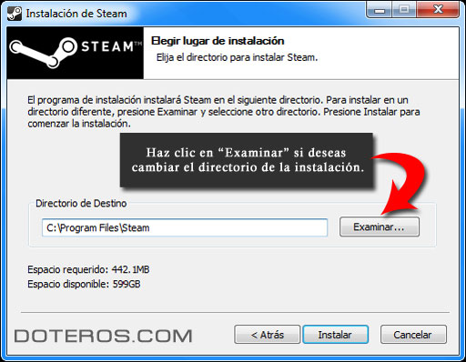 steam cambiar de directorio