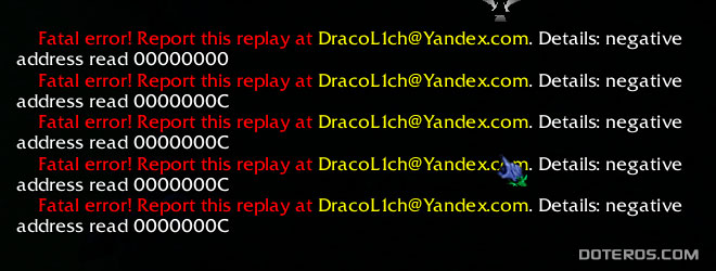 Fatal error! Report this replay at DracoLIch@Yandex.com. Details: negative address read 00000000